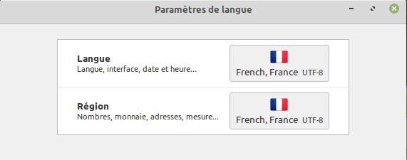 Paramètres de langue dans Linux Mint pour un compte utilisateur standard