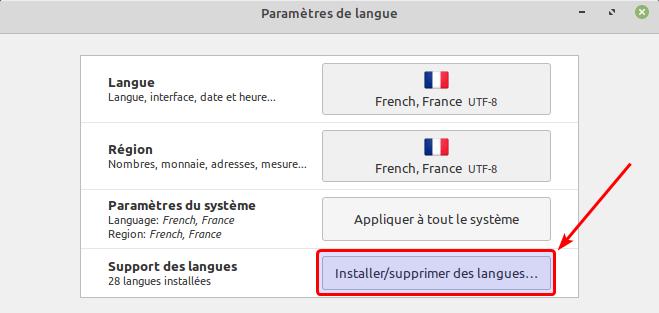 Installer des langues supplémentaires