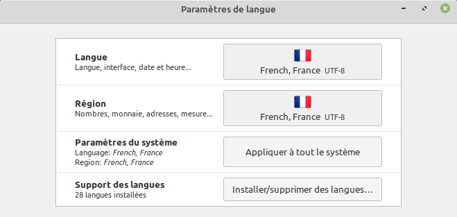 Paramètres de langue dans Linux Mint