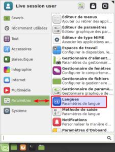 Langues par le menu dans Linux Mint Xfce
