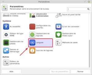 Langues dans Paramètres de Linux Mint Xfce