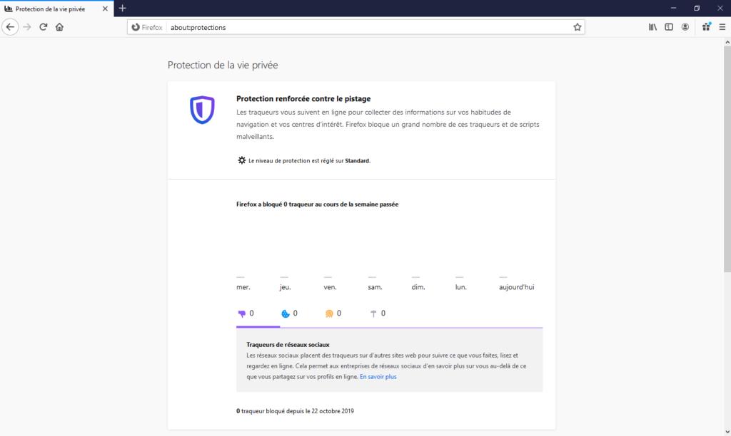 Rapports de protections dans Firefox