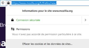 Informations site dans Firefox 70
