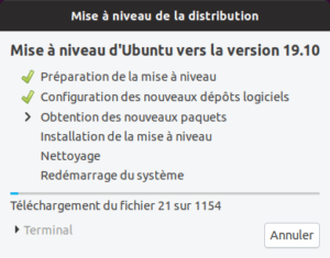 Mise a niveau vers Ubuntu 19.10
