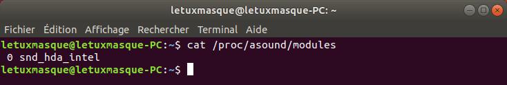 Commande Linux pour connaitre le pilote utilisé par la carte son
