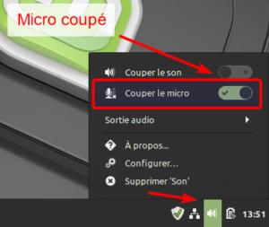 Désactiver le microphone depuis tableau de bord de Linux Mint Cinnamon