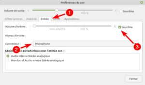 Linux Mint MATE - Préférences du son - entrée microphone