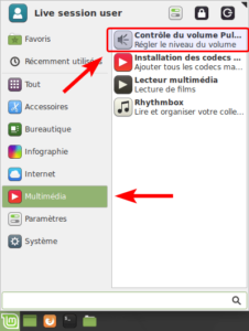 Linux Mint XFCE - accès au contrôle de volume par le menu