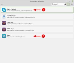 Skype dans le gestionnaire de logiciels Linux Mint