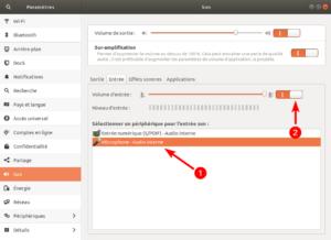 Ubuntu - Paramètres entrée micro