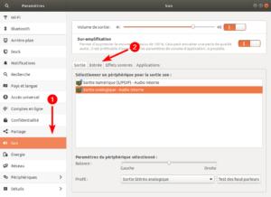 Ubuntu - Accès aux paramètres son