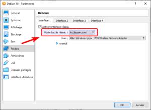 Virtualbox - Mode accès réseau - Accès par pont