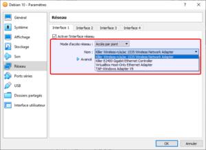 Virtualbox - Mode accès réseau - accès par pont - choix de l'interface sous Windows