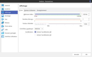 Virtualbox Debian - paramètres Affichage