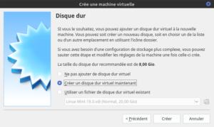 Créer un disque dur virtuel pour Debian - 1