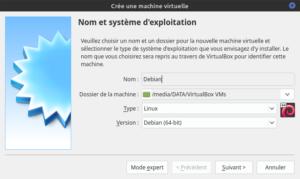 Création Virtualbox Debian - Nom et choix de l'OS