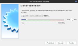 Taille de la ram pour VirtualBox Debian