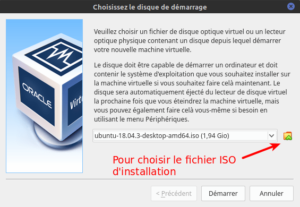 installation Ubuntu dans la vm - disque de demarrage