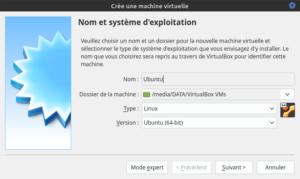 Nommer la machine virtuelle pour Ubuntu