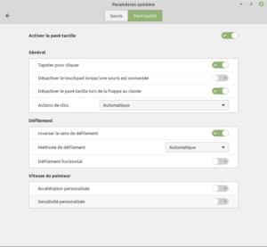 paramètres pavé tactile dans Linux Mint 19.3