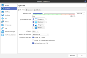 Paramètres de la Virtualbox Ubuntu - section : Systeme, onglet carte mère