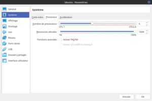 Paramètres de la Virtualbox Ubuntu - section : Système, onglet Processeur
