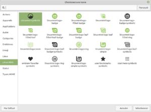 sélectionneur icônes pour menu du tableau de bord