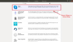 Skype au format snap dans gestionnaire de logiciels Ubuntu