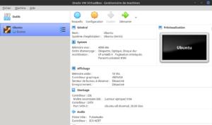 Machine virtuelle Ubuntu dans gestionnaire VirtualBox