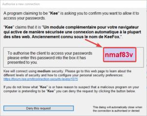 fenêtre Keepass pour l'autorisation de connexion entre Kee dans Google Chrome et Keepass