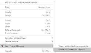 générer mot de passe avec Keepass depuis menu contextuel de Google Chrome ou Chromium