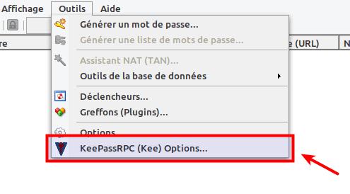 KeePassRPC dans menu outils de KeePass