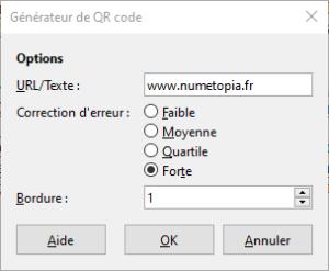 Générateur code QR dans LibreOffice 6.4