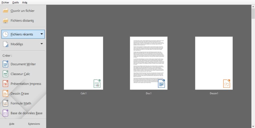 icône sur documents accueil LibreOffice 6.4
