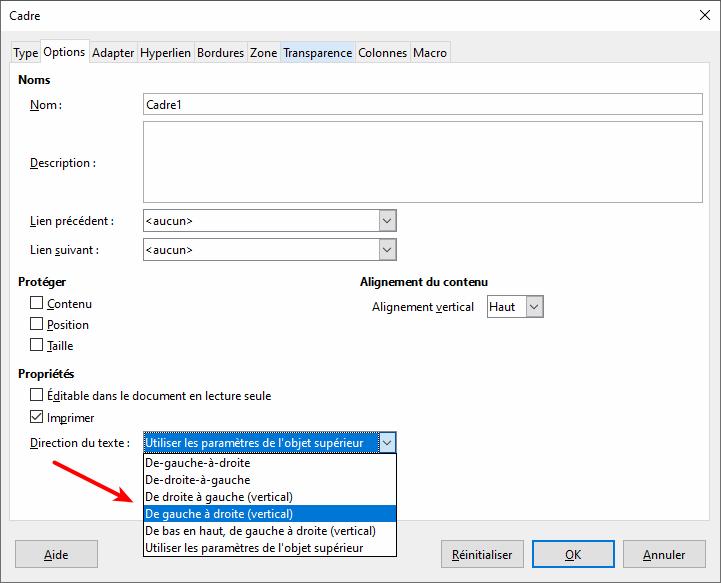 Options pour l'orientation du texte dans un cadre