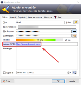 Exemple URL dans KeePass pour un compte Gmail