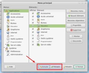 Editeur menu avec undo redo dans MATE 1.24