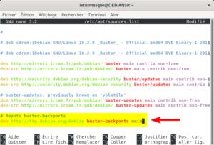 Modification fichier du sources.list dans Debian Buster
