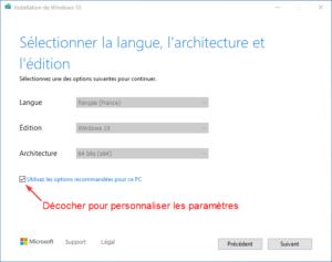 clé USB bootable installation Windows 10 - 3 - parametres