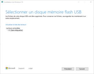clé USB bootable installation Windows 10 - 5 - sélection usb