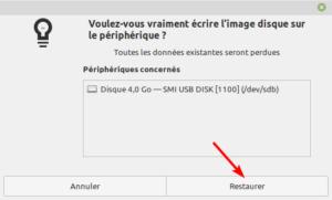Gnome Disks Linux Mint - écrire image ISO sur clé USB