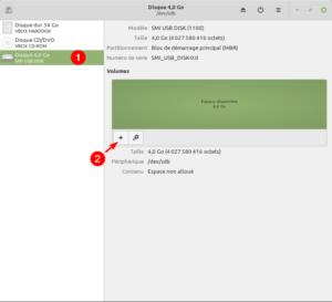Gnome Disks Linux Mint - clé formatée