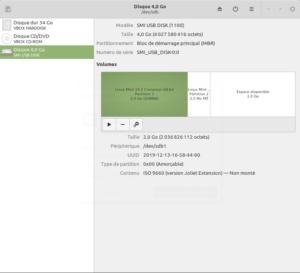 Gnome Disks Linux Mint - clé USB Bootable