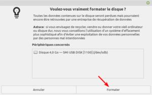 Gnome Disks Linux Mint - confirmation avant de formater