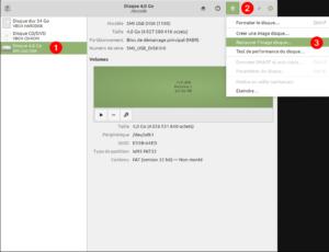 Gnome Disks Linux Mint - créer clé USB Bootable