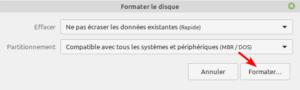Gnome Disks Linux Mint - paramètres pour formater clé USB