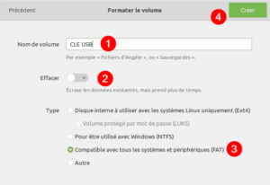 Gnome Disks Linux Mint - recréer partition sur la clé USB