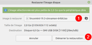 Gnome Disks Linux Mint - sélection image ISO