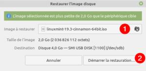 Gnome Disks Linux Mint - sélection image ISO