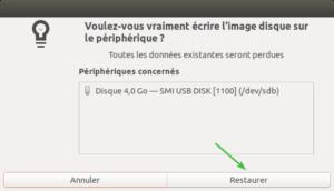 gnome-disks ubuntu - écrire image iso sur usb